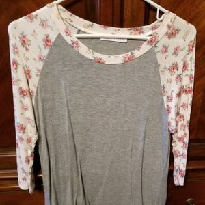 Raglan Tee with Floral Sleeves Size M